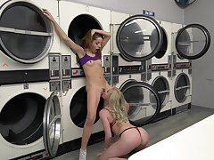 Young lesbians in naughty scenes of oral sex up ahead laundromat
