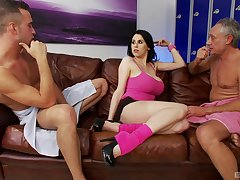 Louise Jenson rides a mature dick while say no to husband watches