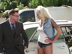 Outdoor fucking with big natural tits pornstar Nina Elle in HD
