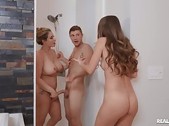Mommy tries daughter's day for a naked shower fuck