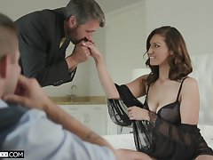 Handsome voyeur is watching old timer shafting his sexy young fit together