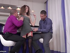 Double penetration trinity with cock hungry Monique Woods