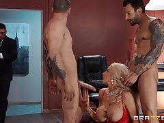 Needy blonde cougar upon strong XXX threesome at residence