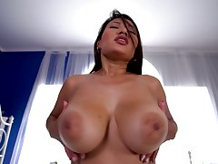 Babe rides dick better than limerick and she's blue with those prominent tits