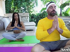 Hot ass ebony chick Kira Noir does yoga plus gets fucked by a white dick