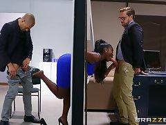 Ebony nigh overshadow curves, insane office threesome