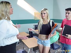 Schoolgirl and horny teacher, together to share along to biggest horseshit