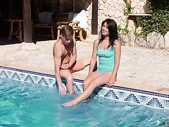 Energized teen fucks with the pool guy when convenient