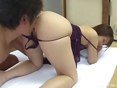 Doggy and missionary sex for a thin Japanese with fine pest