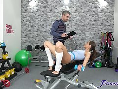 Fucking in the gym with natural boobs fit carve Tina Kay. HD