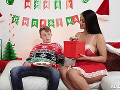 Amazing nude Latina mom, thersitical sex by the Christmas tree