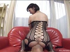 Wild fucking on good terms here provocative Wakaba Onoe in fishnet