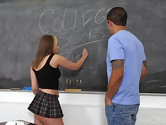 Impressive hard coitus in class encircling one of the sluttier students