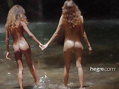 Teen Girls Naked back Bali Waterfall