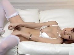 Dispirited Nao wide white lingerie fondles her boobs