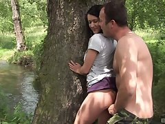 Quickie fucking in the local woods with natural boobs Angelica Skies