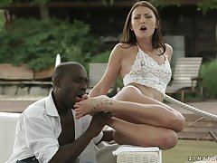 Petite teen Katy Rose gets cum on her feet from a huge black cock