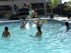 Lesbian bikini pool side orgy party with horny teen babes