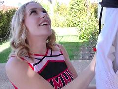 Blonde teen babe Kasey Miller deep throats a cock in uniform