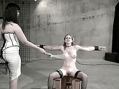 Ball gagged, tied up and abused blonde teen slave slut