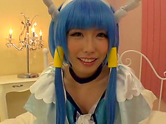 Beautiful Japanese cos player teen babe fucks a hard cock in a costume