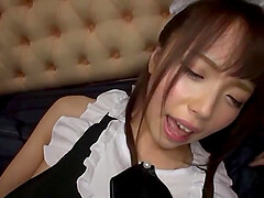 Japanese teen in a maid uniform Aise Miki gets her pussy cream pied