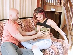 Bald confined dude fucks naughty chick Arizona and cums on her face