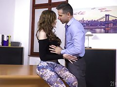 Sexually charged babe in arms Gisha Forza seduces her boss and gets her anus nailed