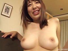 The man Japanese MILF wife sucks and fucks her skimp within reach habitation