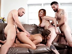 Foursome having it away with a pair of fat ass chicks