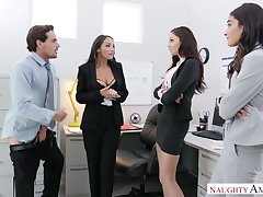 Yoke babes mishandle Ariana Marie sucking co-worker's dick in burnish apply office