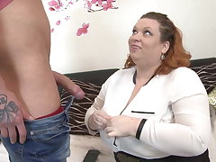 Broad in the beam busty mom seduce skinny young son