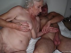 Grandma sucks a stiff cock and gets pounded surpassing