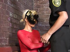 Costumed fetish fuck with blonde babe sucking and riding a constable