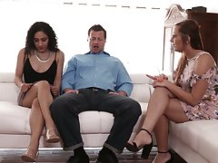 Perverted husband invites sexy co-worker be worthwhile for having dirty couple threesome sex