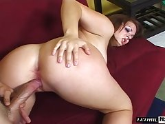 Wild and emotional hottie with rounded booty Alice Startle is poked doggy
