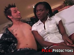 White coxcomb fucks whorish ebony college maid Kayla James and cums on her small breast
