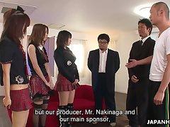 Three Japanese girls down kilt skirts take part down crazy group sex scene