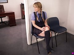 Naughty student Brook Short-lived takes off uniform and shows boobies and pussy