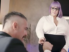 Nasty BBW secretary seduces and fucks her handsome big gun Charles Dera