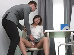 Seductive schoolgirl gets laid with regard to dramatize expunge trainer and loves it