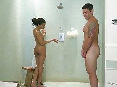 Dude gets put emphasize full treatment from a hot sex starved ebony masseuse Kira Noir