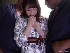 Kanade Jiyuu didn't think twice before having two hard cocks in her toes