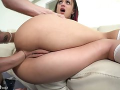 Seductive petite chick Holly Hendrix gives a blowjob and gets her anus holed