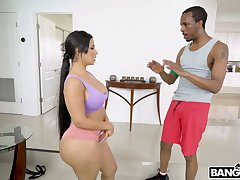 PAWG Rose Monroe gives a deepthroat blowjob coupled with rides huge black penis