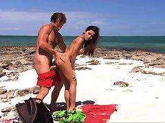 Cute shady teen on hardcore foursome on the beach