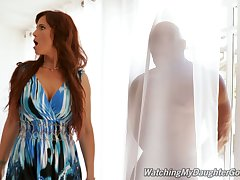 Sexy MILF Syren De Mer catches her stepdaughter's BF hiding behind a curtain