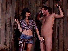 BDSM talisman lover Jasmine Jae dressed as a cowboy humiliates her slave