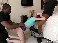 Team a few black suite fuck anus and pussy be advisable for naughty petite blonde Lexi Lore