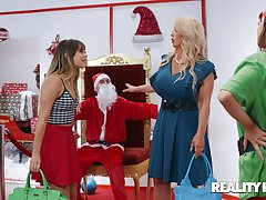 Mephitic Santa gets a constant on when Alura Jenson sits on his lap
